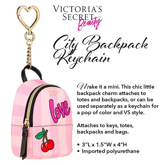 Victoria/'s Secret Mini City Backpack Faux Leather Keychain Keyring Handbag Charm
